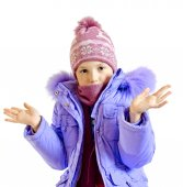 The girl in a warm jacket — Stock Photo