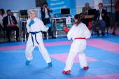 Female karate fight — Stock Photo
