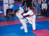 Female karate fight — Stok fotoğraf
