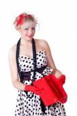 lovely girl with an empty handbag — Zdjęcie stockowe