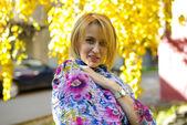 Woman in autumn park — Stock Photo