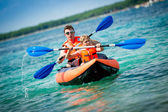 Father and son in a kayak — Stock Photo
