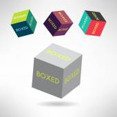 Colorful box icons set with boxed labels. Vector — Stock Vector