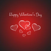 Valentines card with glowing hearts Vector — Stock Vector