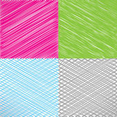 Set of pencil and marker hatching backgrounds. Hand-drawn strokes and scribbles. Vector illustration — Stock Vector