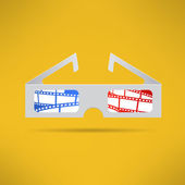 Cinema 3d glasses with footage tape inside. Modern movie theater equipment. Vector — Stock Vector