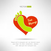 Feet massage sign and foot logo on top of a red heart. Health concept. Vector illustration — Stock Vector