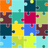 Puzzle seamless pattern. Teamwork concept background. Vector — Stock Vector