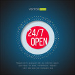 Open 247 sign. Full time service store icon. Online support symbol. Vector illustration — Stock Vector #68755501