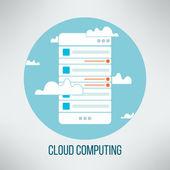 Cloud computing concept suitable for business presentation. Mobile application web template. Vector illustration — Stock Vector
