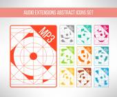 Audio format icons set im modern abstract geometrical clean design. Music signs. Vector illustration. — Stock Vector