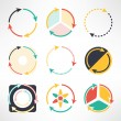 Recycle simple flat icons set. Round arrows symbols. Ecology concept. Vector illustration. — Stock Vector #71485597