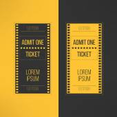 Entry cinema ticket in film footage style. Admit one movie event invitation. Pass icon for online tickets booking. Vector illustration — Stock Vector