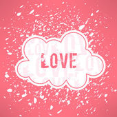 Cute cloud with loving text — Stock Vector