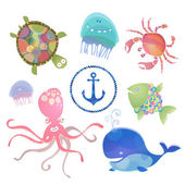 Baby sea creatures. — Stock Vector