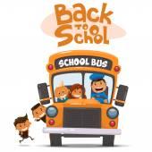 School bus and Happy Children. — Stock Vector