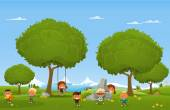 Children play outdoors — Stock Vector