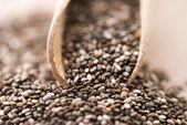 Tahta kaşık üzerinde besleyici chia tohumu — Stok fotoğraf