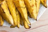 Portion of fresh baked sweet potato wedges — Stock Photo