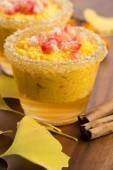 Pumpkin pudding with tapioca pearls — Stock Photo