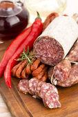 Different sausages and salami — Stok fotoğraf
