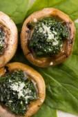 Mushrooms stuffed with spinach — Fotografia Stock
