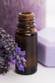 Essential oil and lavender flowers — Stock Photo