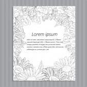 Floral hand-drawn wedding invitation. — Stok Vektör