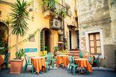 Street cafe in Taormina — Stock Photo