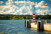 Small striped lighthouse in Klaipeda — Foto Stock