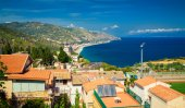 Aerial view of the north side of Taormina — Stock Photo