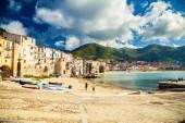 Empty old beach of Cefalu, Sicily — Stock Photo