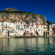 Old houses and the mountain on a background in Cefalu — Stock Photo #65055105