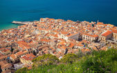 Aerial view of Cefalu old town — Stock Photo