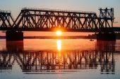 Bridge at sunrise — Stock Photo