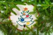 Cross embroidered Christmas tree — Stok fotoğraf