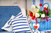 Basket with flowers and  champagne — Foto de Stock