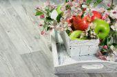 Basket with fresh apple — Stock Photo