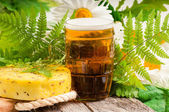Traditional latvian events Ligo. Composition with beer and cheese — Stock Photo