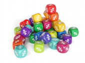 Colorful percent dices — Stock Photo