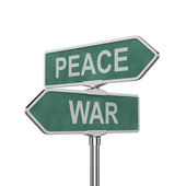 Peace and war concept roadsign board isolated — Stock Photo