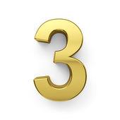 3d render of golden digit three symbol - 3 — Stock Photo
