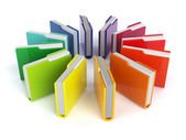 3d render of colorful folders set isolated on white background — Stock Photo