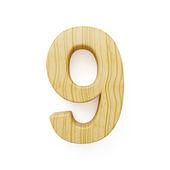 Wood digit nine symbol - 9 — Stock Photo