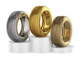 Podium with car tyres — Stock Photo