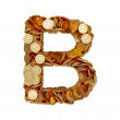 Alphabet letter B with golden coins isolated on white background — Stock Photo #59991951