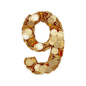Alphabet number digit nine 9 with golden coins isolated on white — Stock Photo