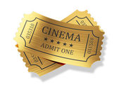 Golden cinema tickets with shadow isolated on white background — Stock Photo