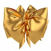 Golden decoration celebration present gift bow isolated on white — Stock Photo