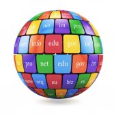 View of group color cubes in the sphere spape domain names  — Stock Photo
